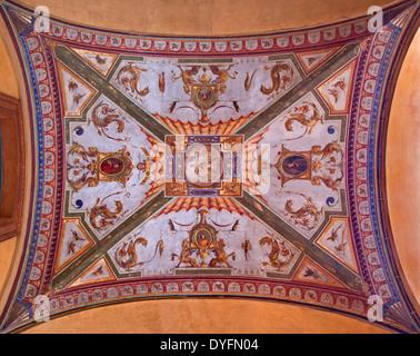 BOLOGNA, ITALY - MARCH 16, 2014: Fresco from ceiling of external corridor of Via Farini street. - Stock Photo