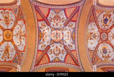 BOLOGNA, ITALY - MARCH 16, 2014: Fresco from external corridor of Via Farini street. - Stock Photo