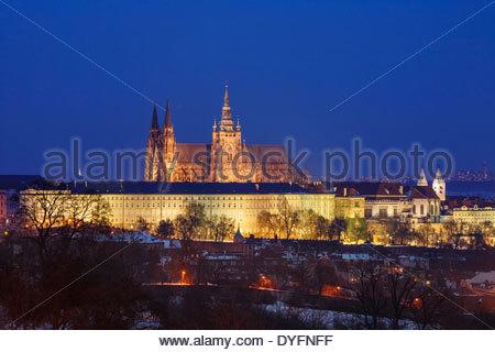 Prague Castle (Pražský hrad) and the Old Town (Malá Strana) seen from Petrin Hill at Night, Prague, Bohemia, Czech - Stock Photo