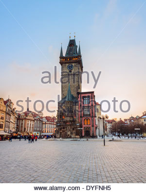 Eastern side of Old Town Hall on Old Town Square, Malá Strana, Prague, Bohemia, Czech Republic - Stock Photo