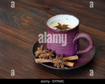 Traditional herbal chai tea with milk - Stock Photo