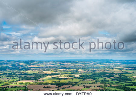 View overlooking farmland in valley, near Dourgne, Tarn Department, Midi-Pyrénées, France - Stock Photo