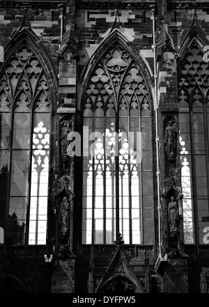 Windows at Lichfield Cathedral, Staffordshire, England, UK - Stock Photo