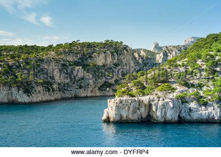 Entrance to Calanque de Port-Pin, Cassis, Bouches-du-Rhône, Provence-Alpes-Côte d'Azur, France - Stock Photo