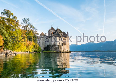 Chateau de Chillon castle on the shores of Lake Geneva (French: Lac Léman), Veytaux, Vaud Canton, Switzerland - Stock Photo