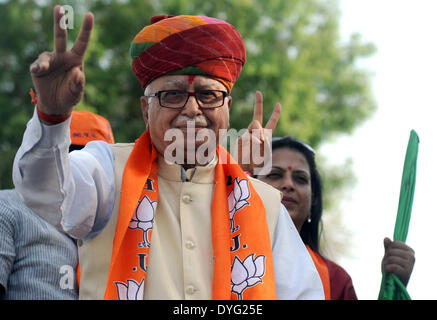 Ahmedabad, India. 16th Apr, 2014. Lal Krishna Advani, Bharatiya Janata Party (BJP) leader and Gandhinagar Lok Sabha - Stock Photo