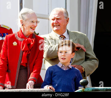 Aarhus, Denmark. 16th Apr, 2014. Danish Queen Margrethe, Prince Consort Henrik, Prince Christian (front) attend - Stock Photo
