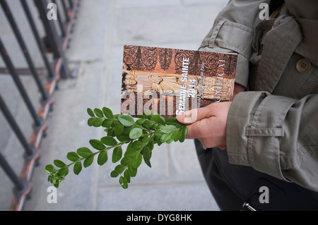 On Palm Sunday Notre Dame Cathedral in Paris distributes green foliage to worshippers - Stock Photo
