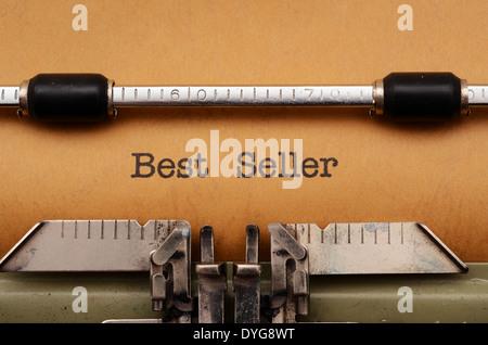 Best seller text on typewriter - Stock Photo