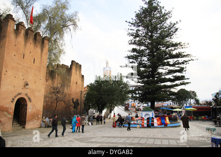 The main square in the small town of Chefchaouen, Morocco. - Stock Photo