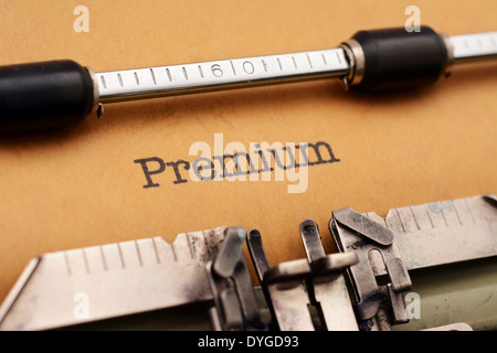 Premium text on typewriter - Stock Photo