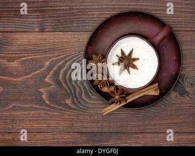 Herbal chai tea with milk - Stock Photo