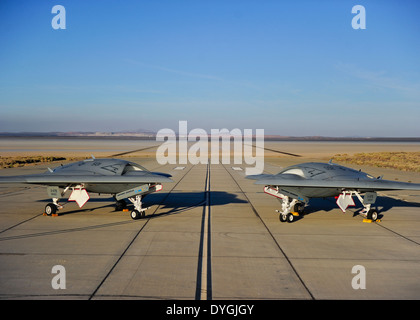 US Navy unmanned X-47B drone aircraft at Edwards Air Base October 10, 2011 in Lancaster, California. - Stock Photo