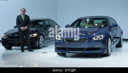 President and CEO BMW North America Ludwig Willisch speaks at unveiling edition 2015 BMW X4 series - Stock Photo