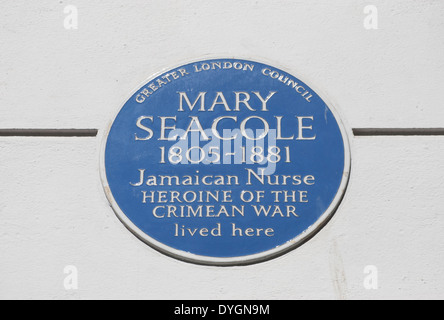 blue plaque marking a home of nurse and crimean heroine mary seacole, soho square, london, england - Stock Photo