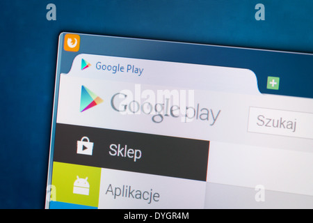 BELCHATOW, POLAND - APRIL 11, 2014: Photo of Google Play social network homepage on a monitor screen. - Stock Photo