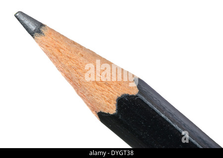 Macro of the tip of a pencil on a white background. - Stock Photo