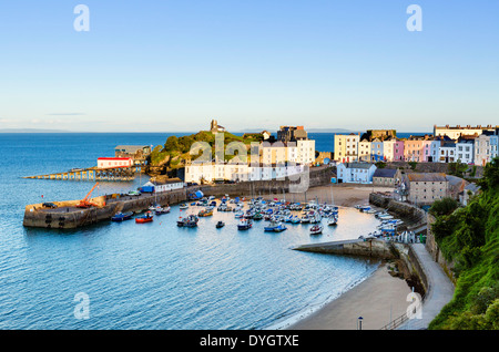 View over the harbour at high tide in the early evening, Tenby, Carmarthen Bay, Pembrokeshire, Wales, UK - Stock Photo