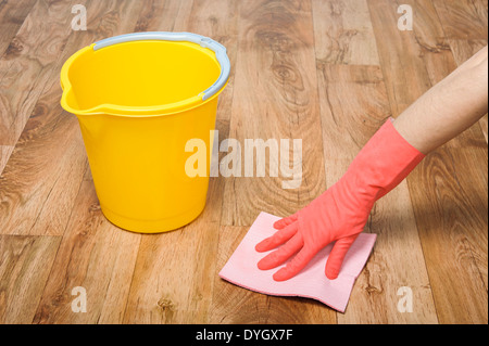 Cleaner wth mop and bucket - Stock Photo