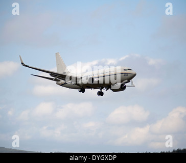 Boeing C-40A Clipper N°16-6695 US NAVY on Approach to RAF Lossiemouth Scotland. SCO 9046 - Stock Photo