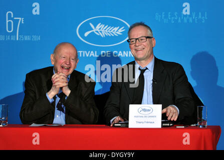 Paris, France. 17th Apr, 2014. Gilles Jacob (L), president of the Cannes Film Festival, and Thierry Fremaux, general - Stock Photo