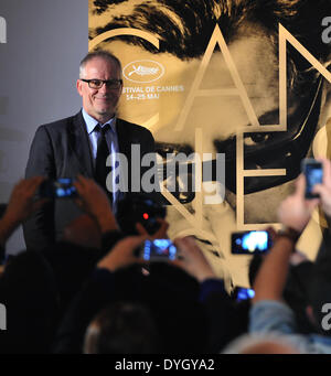 Paris, France. 17th Apr, 2014. Thierry Fremaux, general delegate of the Cannes Festival, attends a press conference - Stock Photo