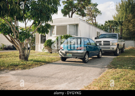 View of a trailer home in the city of Greenacres, Florida, United States. - Stock Photo