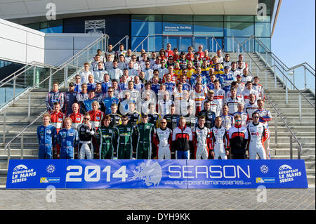 Northampton, UK. 18th Apr, 2014. The European Le Mans Series drivers gather for a group photo on the steps of the - Stock Photo