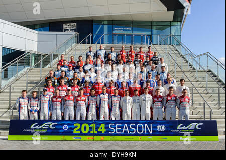 Northampton, UK. 18th Apr, 2014. The WEC drivers gather for a group photo on the steps of the Silverstone Wing at - Stock Photo