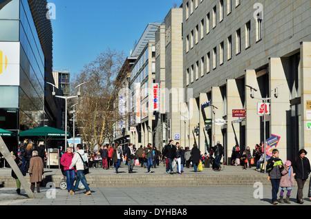 Dresden, Altstadt, Einkaufsmeile Prager Strasse - Stock Photo
