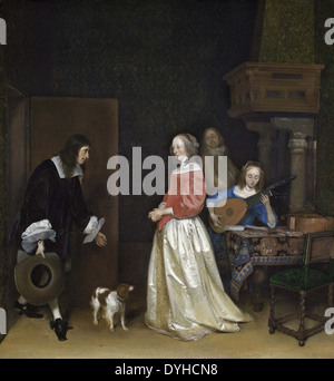 Gerard ter Borch the Younger The Suitor's Visit - Stock Photo