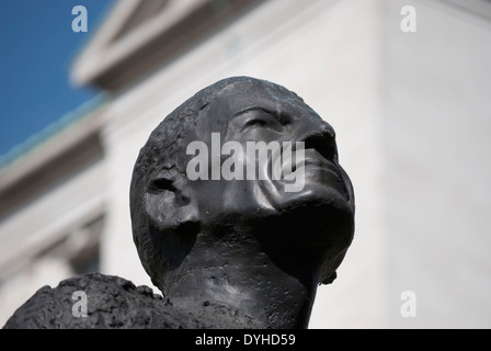 detail of the bronze statue of charles portal, lord portal of hungerford, in victoria embankment gardens, london, - Stock Photo