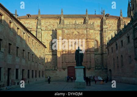 Statue of Augustinian friar Fray Luis Ponce de León at dusk, in front of Salamanca University, Castilla y León, - Stock Photo