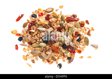 Pile of homemade granola with various seeds and berries shot from above isolated on white background - Stock Photo