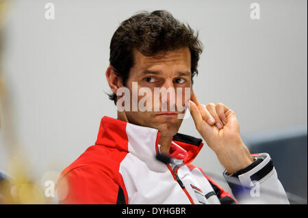 Northampton, UK. 18th Apr, 2014. Ex-Formula 1 and now Porsche Team driver Mark Webber (AUS) looks on during the - Stock Photo