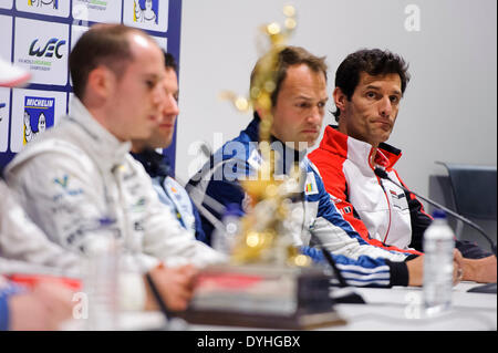 Northampton, UK. 18th Apr, 2014. during the pre event press conference at Round 1 of the 2014 FIA World Endurance - Stock Photo