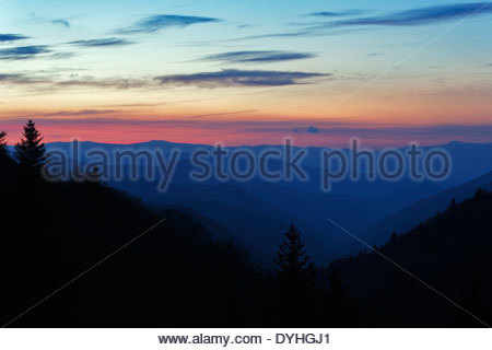Sunrise from Oconaluftee overlook, Great Smoky Mountians Natinal Park - Stock Photo