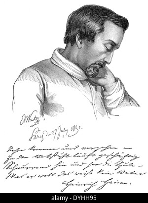 Christian Johann Heinrich Heine, 1797 - 1856, a German poet, writer and journalist - Stock Photo