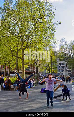 Entertainers in Leicester Square, West End, London, England, United Kingdom - Stock Photo