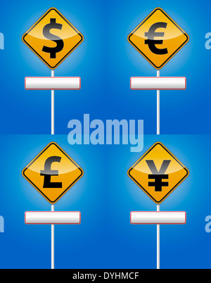 Dollar, Euro, Font and Yen traffic board with reflection. - Stock Photo