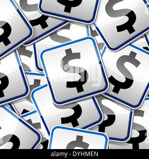 Dollar money sign sticker collection. - Stock Photo