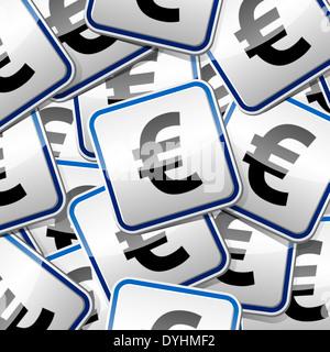 Euro money sign sticker collection. - Stock Photo
