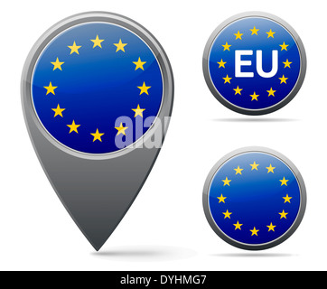 European union flag marker and button - Stock Photo