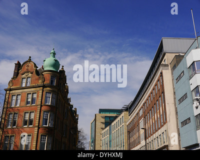Architectural features, including dome, of contrasting old and new office buildings in City of Newcastle upon Tyne, - Stock Photo