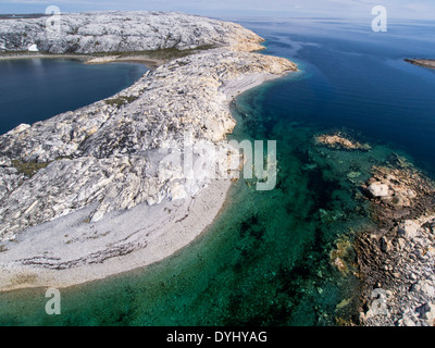 Canada, Nunavut Territory, Aerial view of Marble Island in Hudson Bay near village of Rankin Inlet - Stock Photo