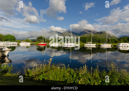 mooring basin at banavie by fort william with ben nevis - Stock Photo