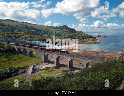 the jacobite steam train crossing the glen mama viaduct - Stock Photo