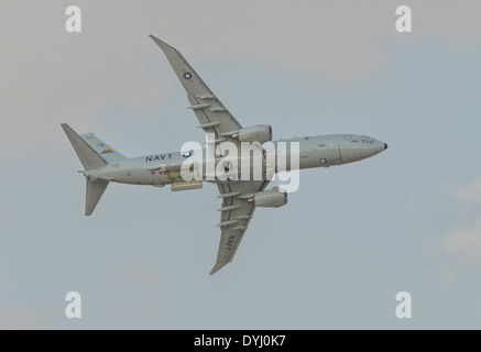 Boeing P-8 Poseidon Flying Over Dubai during Air Show in 2013, UAE - Stock Photo
