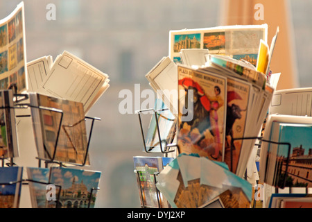 Picture postcards for sale from Spain at the Plaza Mayor, Salamanca, Castilla y León, Spain. - Stock Photo