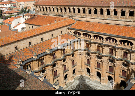 View on the immense, three-floored Baroque cloister and long gallery of The Clerecía Church, Salamanca, Castilla - Stock Photo